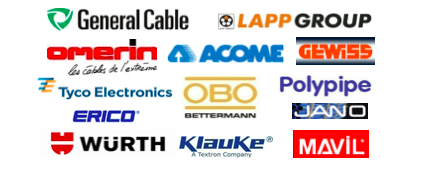 CB TRADING Logos - GENERAL CABLE - LAPP GROUP - OMERIN - ACOME - GEWISS - MAVIL - OBO - POLYPIPE - WÜRTH - KLAUKE - ERICO - TYCO ELECTRONICS​